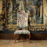 The Tapestry Room at Canons Ashby, detail of an embroidered needlework walnut chair, upholstered by Thomas Phill of the Sign of the Golden Chairs in the Strand in 1714