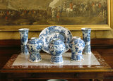 A group of blue and white delftware pieces from Dyrham Park