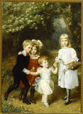 `THE HON. THOMAS, EVERILDA, GERALD AND MARY AGAR-ROBARTES' by ANNA LEA-MERRITT 1885.