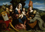 THE HOLY FAMILY WITH ST JEROME, ST JUSTINA, ST URSULA AND ST BERNARDINO OF SIENA by Jacopo de Antonio de Negreti