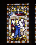 Stained glass panel representing the Presentation in the Temple