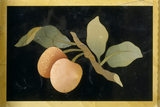 Detail of large pietra dura cabinet in the Drawing Room designed by William Beckford, depicting peaches on a bow