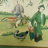 C18th Chinese wallpaper frieze depicting garden party in Chinese Bedroom