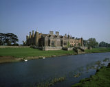 View across the River Avon towards the West Front of Charlecote showing George Hammond Lucy's neo-Elizabethan addition from the early 1830s