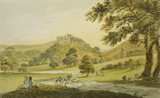 DUNSTER CASTLE AND CHURCH FROM MEADOWS TO THE EAST by John Nixon c. 1780