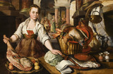 KITCHEN SCENE by Joachim Beuckelaer (or Bueckelaer), c.1530/35-1573/4, in the Dining Room in the new house at Scotney Castle, Kent.