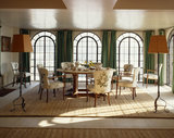 View of the dining table and chairs in the Dining Room at Chartwell
