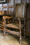 Wooden Jacobean chair in the Music Room at Westwood Manor, near Bradford-on-Avon, Wiltshire