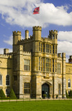 The sixteenth-century Gate Tower on the West Front at Coughton Court, Warwickshire