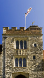 Top of the Gatehouse Tower on the West front at Ightham Mote, Sevenoaks, Kent, a fourteenth-century moated manor house