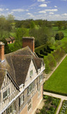 A view of the North range, built mostly as lodgings for guests, and part of the Courtyard from the Tower at Coughton Court, Warwickshire