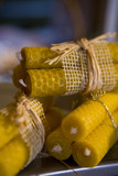 Beeswax candles at the Christmas fair at Lacock Abbey, near Chippenham, Wiltshire