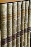 Leather-bound books on bookshelves in the Library at Hughenden Manor, Buckinghamshire, home of prime minister Benjamin Disraeli between 1848 and 1881