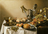 STILL LIFE WITH CRAB, APRICOTS, BREAD AND A BOWL OF SUMMER FRUITS by Peter Claesz at Nostell Priory (post conservation)