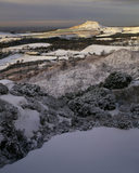 An early morning winter scene with Roseberry Topping catching the sun