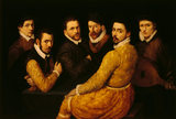 SIX MEN IN AN ADAM DESIGNED FRAME attributed to Passerotti (1534-1592)