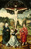 THE CRUCIFIXION at Cotehele, Flemish C16th, with The Virgin, St John and Mary Magdalen