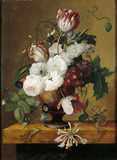 TULIPS, HONEYSUCKLE, PAEONIES, AND ROSES IN AN URN by Jan Frans van Dael (1764-1840)