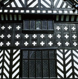 Close-up of timber-framed Speke Hall dates from 1490's