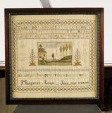 A sampler, one of a collection made by Margaret & Rebecca Lyon (1819) on the Upstairs Landing at Stoneacre