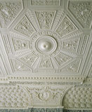 Detail of the plaster ceiling with Classical motifs in the Saloon, almost certainly the work of the stuccoist Joseph Rose