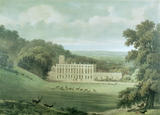 Lithograph of Dyrham Park about 1835 showing stags in the park