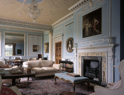 Drawing Room showing fireplace, large mirror & chandelier