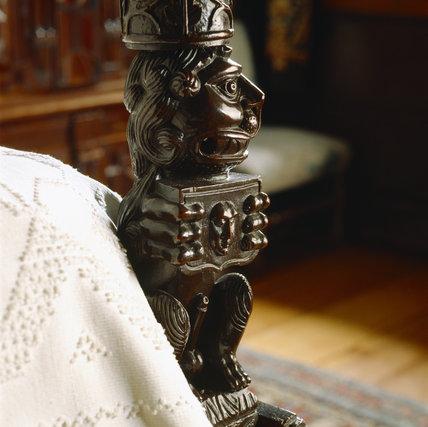 Detail of one of the bed post from the King Charles Room, which is made up of bulbous Elizabethan posts from a table