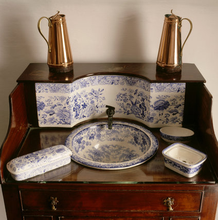A close-up of the mahogany washstand, in the North East Bedroom