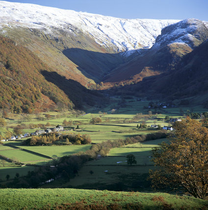 View across Borrowdale to Eagle Crag, Greenup Edge and the snow dusted hills beyond