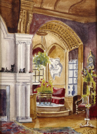 WINDOW BAY IN THE LIBRARY AT LYME PARK, a watercolour by Dulcibella Legh (also known as Sybil) and dated 1897