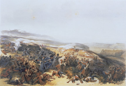 THE BATTLE OF INKERMAN by William Simpson at Tatton Park in sketch-books called 'The Seat of War in the East, 1855-6'