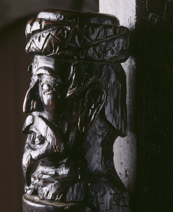 Detail of the Saracen's Head newel post on the Jacobean Staircase at Ightham Mote