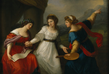 The Artist Hesitating Between the Arts of Music and Painting,Angelica Kauffmann,1741-1807 Self-portrait, 1791 or 1794 Oil on canvas, 1473 x 2159mm (58 x 85