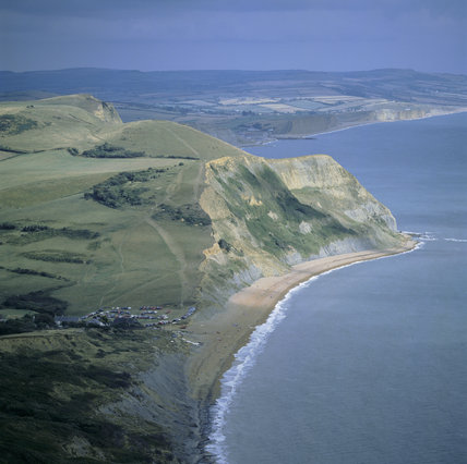 Ridge Cliff from Golden Cap showing the beach and patchwork of fields over the nearby hills
