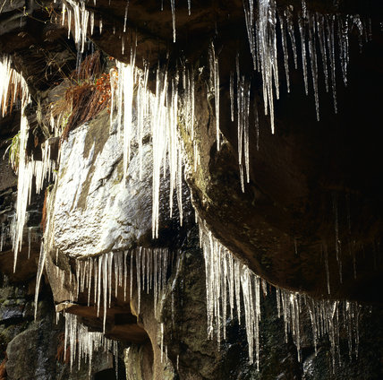 Ice formations beside Hebden Water at Hardcastle Crags