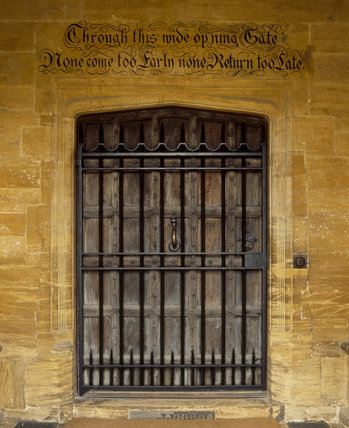 A door at Montacute House bearing the inscription: