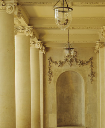 The Screen of columns in the Tea Room of the Bath Assembly Rooms The detail shows the Screen of Ionic Columns and the 18th Century style pendant lights converted for electricity