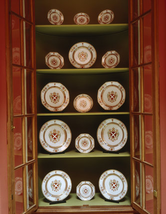 Chinese Export Armorial Service, early 18th-century from the hall at Mount Stewart