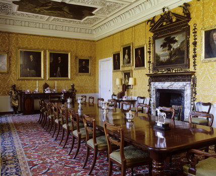 The Dining Room At Hanbury Hall With Mahogany Dining