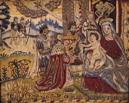 A 17th Century stumpwork depicting the nativity, at Fenton House