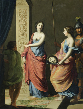 SALOME WITH THE HEAD OF ST JOHN THE BAPTIST by Jacques Stella (1596-1657), painting in the Green Closet at Ham House, Richmond-upon-Thames