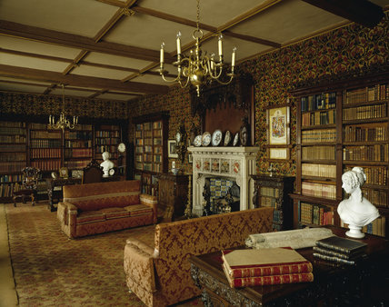 View Towards The Fireplace In Library In Victorian Style