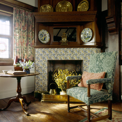 The Fireplace In The Oak Room At Wightwick Manor Is Lined