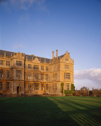 Across the lawn to the East front of Montacute with the sunlight shining on the walls, Late 16th - early 17th Century