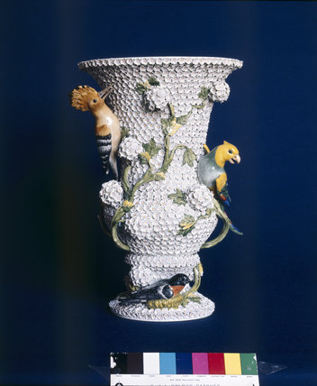 19th century Meissen vase at Sudbury Hall decorated with flowers a hoopoe, a bullfinch and other birds