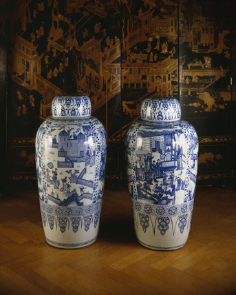 Petworth House, close up of two of the Duchess of Somerset's vases imported from China