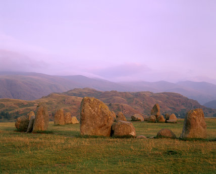 View of Castlerigg stone circle near Keswick and Derwentwater, Cumbria, in evening light