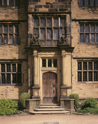 A detail of The Entrance to Gawthorpe Hall at Lancashire