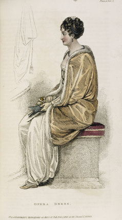 Illustration of a lady in opera dress from The Repository of Arts, Literature, Commerce by Ackermann (1810) from the library collection at Calke Abbey, Derbyshire